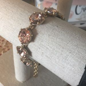 Stella & Dot Peachy Pink Big Rhinestone Bracelet